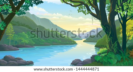 Natural window view of the river flowing calmly across dense green tropic forest Royalty-Free Stock Photo #1444444871