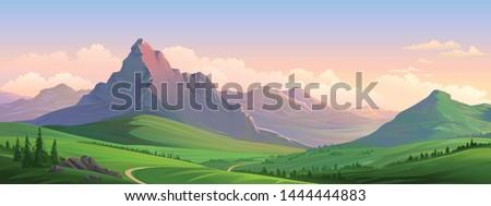 Evening orange mountains of the European alps Royalty-Free Stock Photo #1444444883