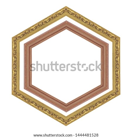 hexagonal gold frame and wood frame isolated on a white background with clipping path