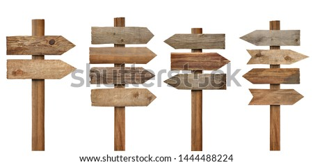 collection of various wooden sign on white background #1444488224