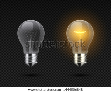 Realistic light bulb. Glowing yellow and white incandescent filament lamps, electricity on and of template. Vector 3D light bulbs set - creativity idea business innovation, on transparent background Royalty-Free Stock Photo #1444506848