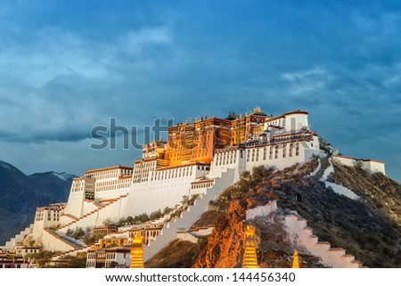 Potala Palace in Lhasa ( Tibet ) on cloudy day ( photo taken in the evening )
