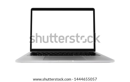 Blank screen Laptop Computer isolated on white background. #1444655057