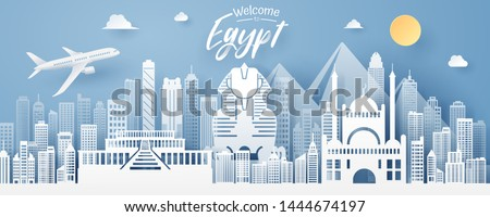 paper cut of Egypt landmark, travel and tourism concept, eps 10 vector. #1444674197