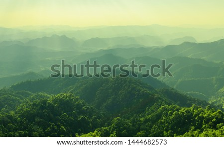 High mountain in morning time. Beautiful natural landscape #1444682573