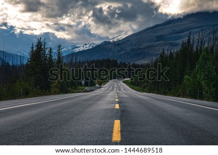 Looking Straight on a Mountain Highway in The Rockeys #1444689518