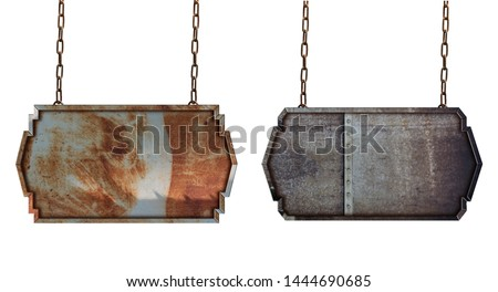 Metal plate sign board with chains isolated on white background