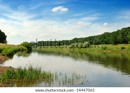 The valley of the Odra river in Poland Royalty-Free Stock Photo #14447065