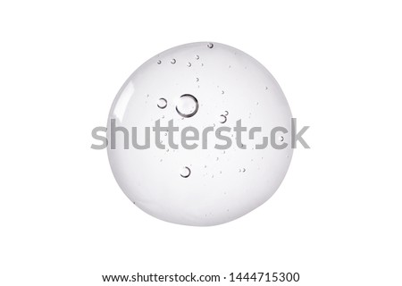 Serum texture. Clear liquid gel with bubbles swatch isolated on white background. #1444715300