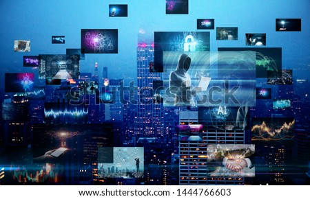 Bright digital picture gallery on blurry night city background. Social media and cloud computing concept concept. Multiexposure