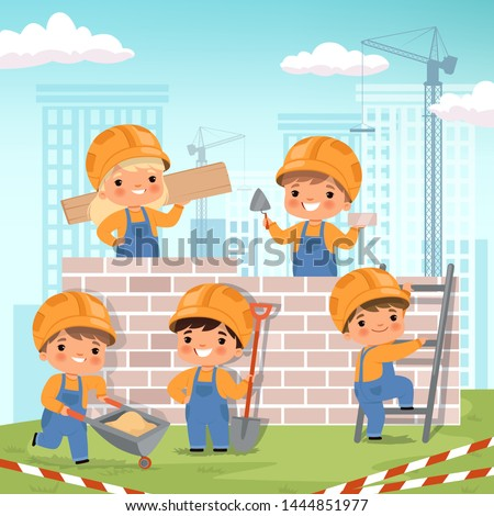 Construction background. Little kids making some work at construction build house vector cartoon background. Build construction kids, work engineering illustration Royalty-Free Stock Photo #1444851977
