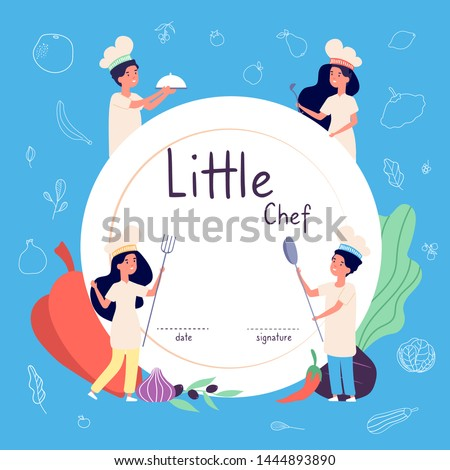 Kids cook background. Kids cooks background. Children in chef hat cooking food in kitchen. Culinary vector concept. Kids chef cook, course of diploma culinary illustration Royalty-Free Stock Photo #1444893890