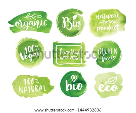 Eco, organic food labels. Vector green abstract hand drawn watercolor background. Natural, organic food, bio, eco design elements. Royalty-Free Stock Photo #1444932836