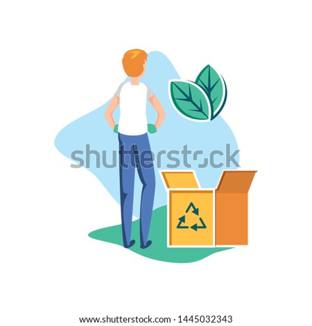 Isolated recycle box and avatar man design #1445032343