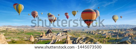 Panoramic view of unusual rocky landscape in Cappadocia, Turkey. Colorful hot air balloons fly in sky over deep canyons, valleys and fairy chimneys of Cappadocia region. #1445073500