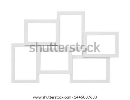 Six merged photo frames on a white background