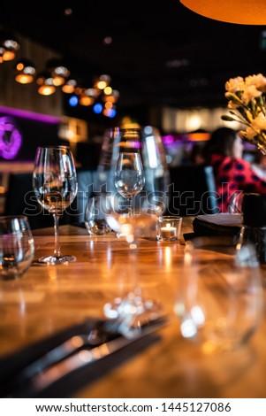 Food drinks table night restaurant #1445127086