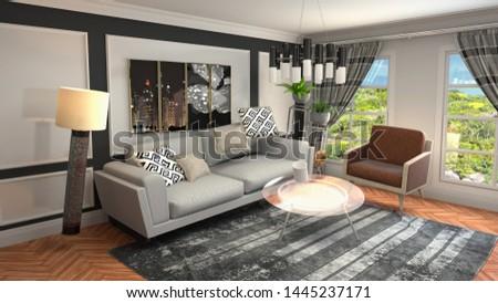 Zero Gravity Sofa hovering in living room. 3D Illustration #1445237171