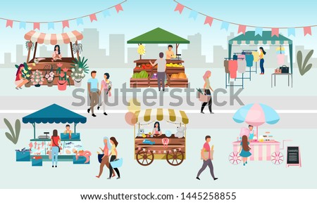 Street fair flat vector illustration. Outdoor market stalls, summer trade tents with sellers and buyers. Flowers, farmers food and products, clothes city kiosks. Local urban shops cartoon concept #1445258855