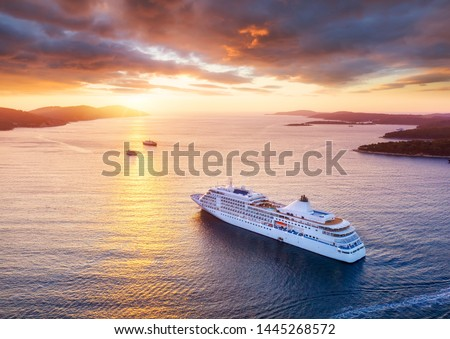 Croatia. Aerial view at the cruise ship during sunset. Adventure and travel.  Landscape with cruise liner on Adriatic sea. Luxury cruise. Travel - image #1445268572