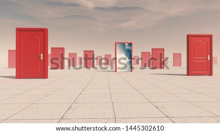 Group of closed doors and one opened to another world. Royalty-Free Stock Photo #1445302610