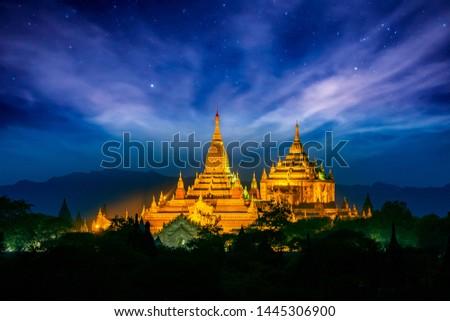 Thatbyinnyu Pahto, Bagan, Myanmar , Night view of great padogas in Bagan, Myanmar #1445306900