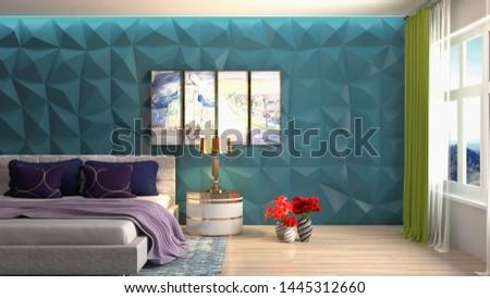 Bedroom interior. Bed. 3d illustration. #1445312660