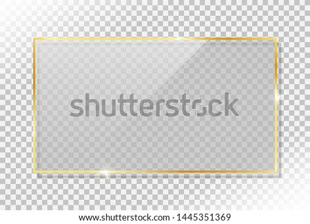shiny gold frame with glass and glow shine flare effect and drop shadow on transparent background. vintage luxury golden frame element for gift card, greeting card and celebration banner. #1445351369
