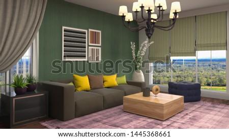 Interior of the living room. 3D illustration. #1445368661