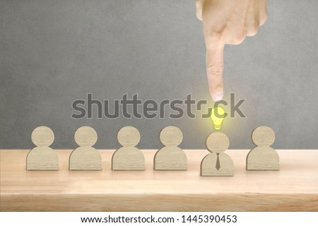 Hand of Male Pointing Creative Businessman Symbol Standind Out with Copy Space, Management and Leadership Concept. #1445390453