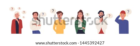 Collection of portraits of thoughtful people. Bundle of smart men and women thinking or solving problem. Set of pensive boys and girls surrounded by thought bubbles. Flat cartoon vector illustration. #1445392427