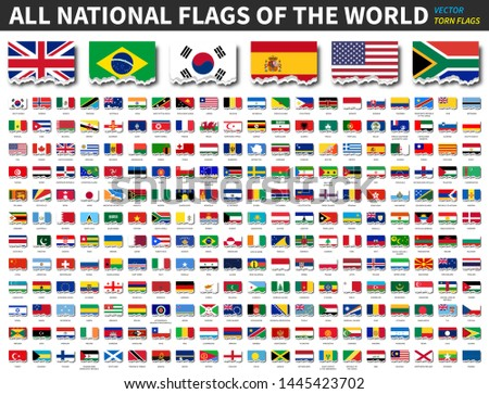All national flags of the world . Torn paper design . Vector . #1445423702