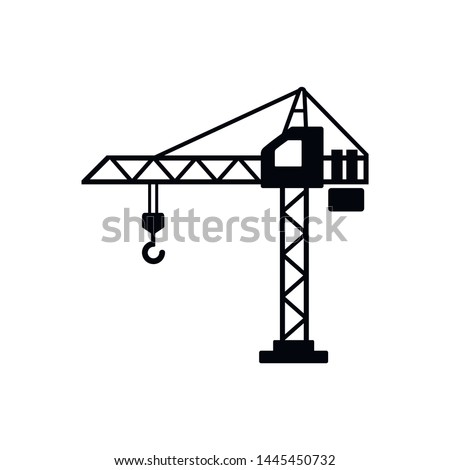 Building crane Icon Vector. Flat vector illustration in black on white background. EPS 10 Royalty-Free Stock Photo #1445450732