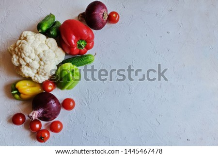 Diet concept. Ketogenic Diet (or Keto Diet), Veganт diet on chalkboard, health conceptual. Healthy fresh low carbohydrates food; tomatoes,cauliflower, cucumbers, onions. Top view. Copy space. #1445467478