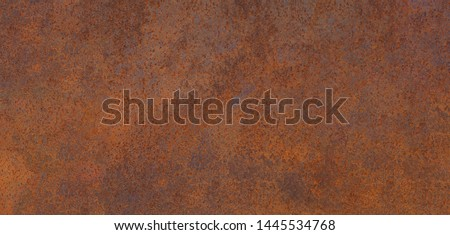 Panoramic grunge rusted metal texture, rust and oxidized metal background. Old metal iron panel. High quality #1445534768