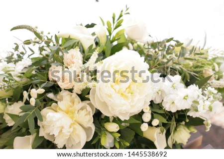 Wedding flowers, bouquet and table arrangement of roses, peonies, Aram lilies and thyme #1445538692