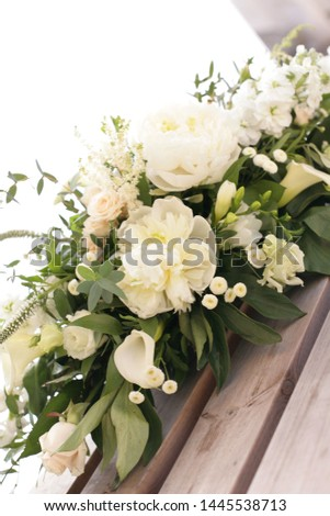 Wedding flowers, bouquet and table arrangement of roses, peonies, Aram lilies and thyme #1445538713