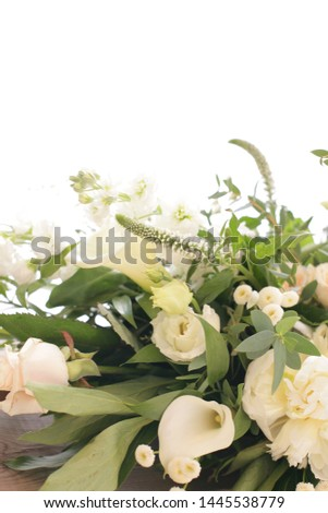 Wedding flowers, bouquet and table arrangement of roses, peonies, Aram lilies and thyme #1445538779