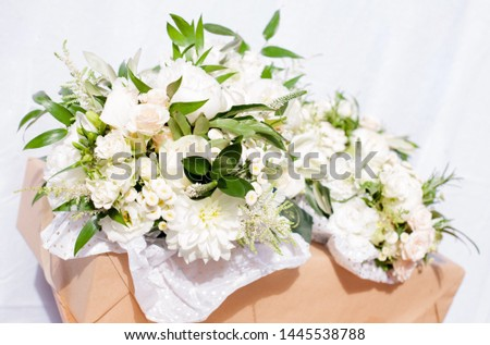 Wedding flowers, bouquet and table arrangement of roses, peonies, Aram lilies and thyme #1445538788