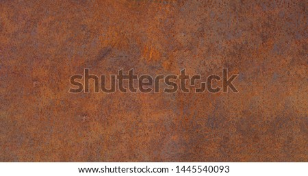 Panoramic grunge rusted metal texture, rust and oxidized metal background. Old metal iron panel. High quality Royalty-Free Stock Photo #1445540093