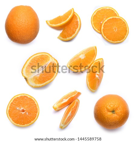 Set of fresh whole and cut orangeand slices isolated on white background. From top view #1445589758