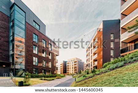 EU Modern architecture of apartment residential buildings. And outdoor facilities. #1445600345