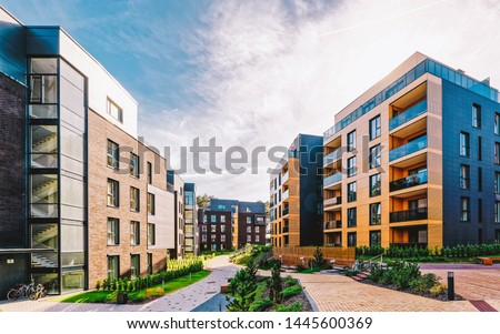 EU Modern european complex of apartment buildings. And outdoor facilities. Mixed media. Royalty-Free Stock Photo #1445600369
