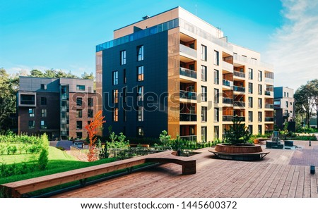 EU Pine tree at architectural complex of apartment building. And outdoor facilities. #1445600372