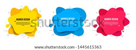Abstract vector banners. Geometric liquid forms. Template bagdes. Modern design. Dynamic fluid banners shapes. Minimal curvy design. Various colors modern template. Text with quotes. Vector shapes #1445615363