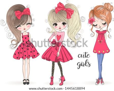 Three hand drawn beautiful cute girls. Vector illustration. #1445618894