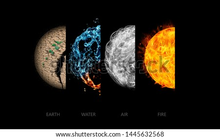Four elements isolated on black. Royalty-Free Stock Photo #1445632568