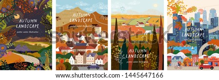 Autumn nature, village, country, city landscapes. Vector illustration of natural, urban and rustic background for poster, banner, card, brochure or cover. #1445647166