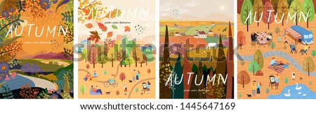 Autumn nature. Cute vector illustration of landscape natural background, village, people on vacation in the park at a picnic, forest and trees. Drawings from the hand  #1445647169