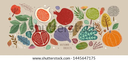 Vector illustrations of autumn objects: fruits and vegetables, harvest, trees, leaves, plants, pumpkin, pomegranates, figs and nuts. Cute freehand drawings to create a poster or card.  Royalty-Free Stock Photo #1445647175